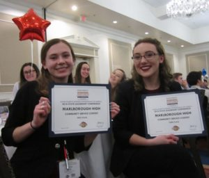 (l to r) Marissa Caissie, Marlborough firstpPlace for Community Service for Reality Fair, and Abigail Roberge, Marlborough third place for Community Service for Computer Training.