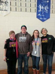 Dina Crieger, (far right) founder of Choose to be Nice, with Jaworek staff members (l to r) Tracy Wheeler, Principal Ron Sanborn and Kara Fisher. Photos/submitted