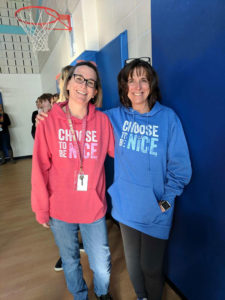 """Jaworek kindergarten teachers (l to r) Nancy Tucker and Lisa Pacific don """"Choose to Be Nice"""" attire. Photos/submitted"""