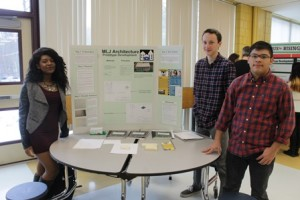 Sophomores Meredith St. Paul, Liam Mayfield and Jeffrey Ruiz (front), focused on developing an addition to Marlborough Elementary School. Their idea includes more space for a music, art and special education room.