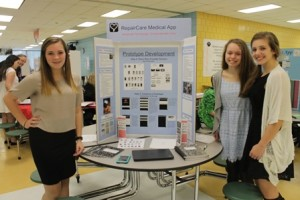 (l to r) Kylie Craig, Sarah Popivchak and Katelyn Silva created a medical app called RepairCare, which reduces waiting time in a hospital or clinic.