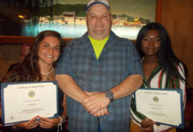 (l to r) Carley Devlin, Marlborough Lions Club President John Mazza, and Meredith St. Paul. Photo/submitted