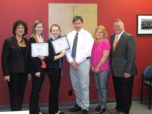 Susanne Morreale Leeber, president and CEO, MRCC; scholarship recipients Abigail Mangsen and Katrina Pusateri; , Darren McLaughlin, president Marlborough Regional Community Foundation; Mary Miller, AVRTHS BPA adviser; and Ernest Houle, superintendent-director, AVRTHS