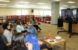 """Students in Marlborough High School's book club Skype with author A.S. King"""". Photos/submitted"""