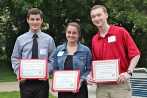 Wayside Racquet and Swim Club scholarship winners: (l to r) Kevin McLaughlin, Sarah Purcell, and Robert Smith