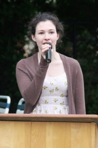 Alyssa Chamberlain sang the national anthem at the Chamber of Commerce annual scholarship presentation.