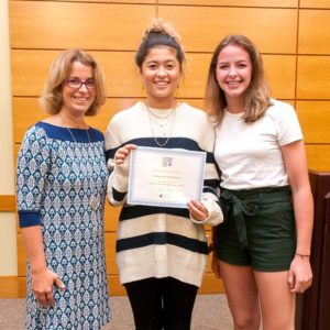 "NEF supported the grant ""Growing the Center: Writing Center as a Center for Writing"" for the Algonquin Regional High School. Pictured (l to r): NEF Fundraising Chair Marile Borden with writing tutors Shana Pelham and Emily Philbrook Photos/submitted"
