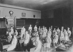 A classroom in the Hudson Street School.