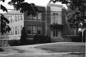 The Northborough High School in 1938 with its addition after a fire burned the original building.