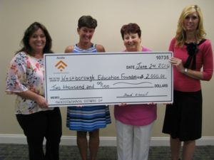 (l to r) Rhiannon Hernandez, Westborough assistant vice president market manager of Avidia Bank; Maureen Johnson, president of the Westborough Education Foundation; Suzanne Laperle, Westborough branch manager of Avidia Bank; Kim Perkins, Westborough branch manager of Avidia Bank Photo/submitted