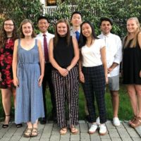 (l to r) Scholarship recipients Katherine Hansen, Bridget Brady, Andrew Gao, Paige Morse, Alex Chen, Clarissa Wong, Jacob Demarco and Molly O'Brien
