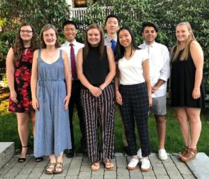 (l to r) Scholarship recipients Katherine Hansen, Bridget Brady, Andrew Gao, Paige Morse, Alex Chen, Clarissa Wong, Jacob Demarco and Molly O'Brien