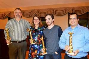 The SEF trivia champions, Pluto, Teach the Controversy: (l to r) Paul Wood, Moira Lumley-Chan, Patrick Collins and Steven Sousa Photo/Christa Duprey