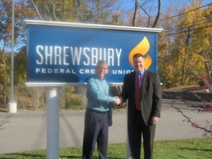 Jim Dupont, Shrewsbury Federal Credit Union president and CEO, and Dr. Joseph Sawyer, superintendent of Shrewsbury Public Schools Photo/Michelle Biscotti