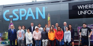 Shrewsbury High School students are flanked by Congressman Jim McGovern (far left) with (l to r) Jennifer DiFrancesca, Director of Social Sciences; School Superintendent Dr. Joseph Sawyer; Doug Hemmig, Community Relations Specialist with C-SPAN; and State Representative Hannah Kane Photo/Melanie Petrucci