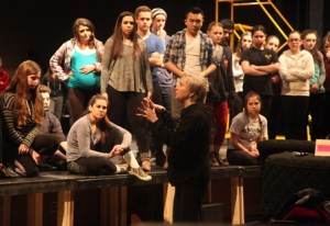 Shrewsbury High School performing arts students attend a Feb. 7 workshop led by Broadway actress Nancy Opel (front). Photo/submitted