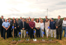 School officials, donors, Fundraising Committee members and legislators at the Shrewsbury High School turf field groundbreaking Photo/Melanie Petrucci