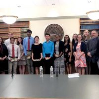Shrewsbury High School Class of 2018 scholars and members of the School Committee flanked on the left by Superintendent Dr. Joseph Sawyer and on the right by State Rep. Hannah Kane. Photo/Melanie Petrucci