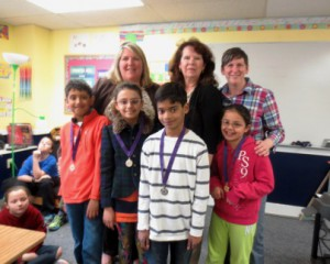 (l to r, front) Aarushi Pant, Arianne Kamal, Arush Mallovoram and Vedant Roymoulik;  (l to r, back) teachers Miss Simoneau and Mrs. Short, and Karen McQuade, director Photo/submitted