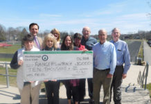 The Westborough Civic Club donates $10,000 to the Rangers on Track program. Photo submitted