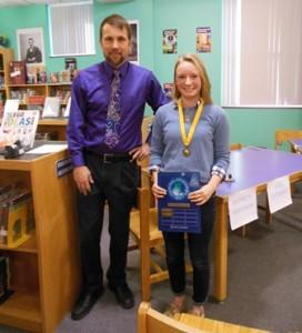 Bruce Powers, eighth-grade Purple Team social studies teacher/department chair, poses with this year's Geography Bee winner, eighth-grade student Elizabeth Hopkinson.  Photo/Nance Ebert