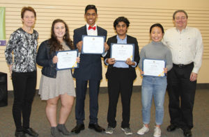 Youth Speech Chair Sue Ash, Rachel Fredman, Winner Neil Kale, Amir Hameed, Sonia Kang, and Lions President Angelo Cavaliere