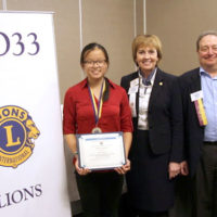 (l to r) Megan Ku, Lions Clubs International First Vice President Gudrun Yngvadottir from Iceland, and Westborough Lions Club President Angelo Cavaliere Photo/submitted