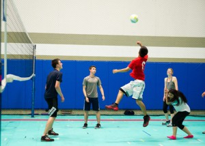 Graduates play volleyball at the 2015 Project Graduation Westborough event.