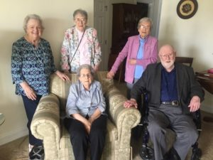 The Westborough Class of 1945 met for a reunion at The Willows at Westborough on May 10. (l to r) Barbara Christie, Dot Ross, Jane Hodgdon, Frannie Poulson and Bill Gould Photo/submitted