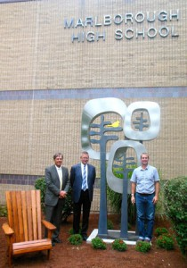 (l-r) Superintendent Richard Langlois, Aramark's Jay Gustaitis and artist Dale Rogers in front of The Tree of Knowledge by the entrance to the Marlborough High School. (Photos/Nance Ebert)
