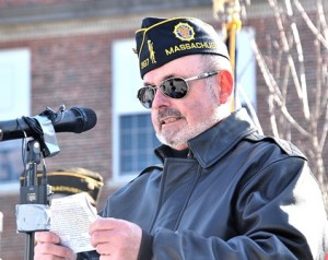 Commander Fred Russell of the Victor Quaranta American Legion Post 397 and Chair of the WWI Memorial Committee speaks about the veterans honored by the monument.