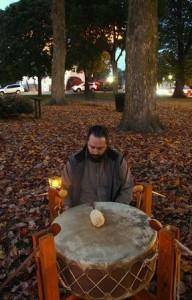 Drummer Warren Huber of Lancaster before the domestic violence vigil.