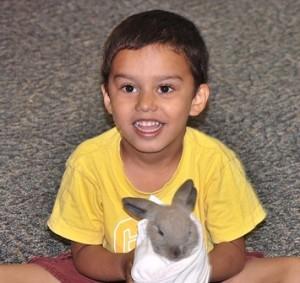 Kyle Loboprabhu, 4, is happy to handle a bunny.