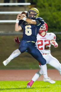 Shrewsbury's A.J. Laramee (#6) nearly intercepts a pass intended for St. John's Cam Lucey (#22)