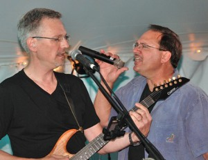 "Tim Proch and John O'Brien of ""Tension"" sing a classic rock tune."