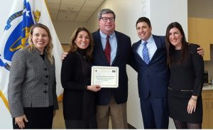 (l to r) Department of Energy Resources Commissioner Judith Judson, Lieutenant Governor Karyn Polito, SELCO General Manager Michael Hale, Mass. Energy and Environmental Affairs Secretary Matthew Beaton, and State Representative Hannah Kane. Photo/submitted