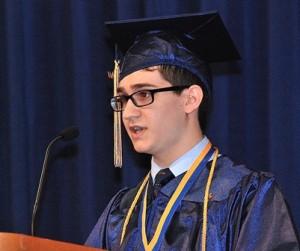 Salutatorian Nicholas M. Mroz speaks to his classmates.