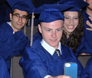 Jesse Levine (front) takes a selfie, and gets photobombed by Moe Malekafzaly and Lindsey Manea.