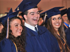 (l to r) Erin LeMay, Brian Lenehan and Marissa Leone enjoy their front-row seats.