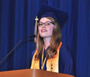 Valedictorian Hannah Eckstrom speaks to her classmates.