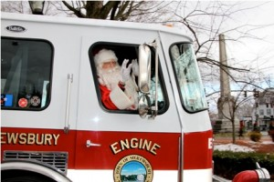 Santa Claus arrives at the Sumner House courtesy of the Shrewsbury Fire Department.