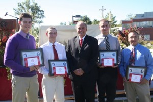 Photo - 2013 Thomas Merton Award winners (l to r) Jacob Dubois, Tim Bibaud, Michael Smalanskas, and Brian Tomlinson with Saint John's Headmaster Michael Welch.(Photo/submitted)