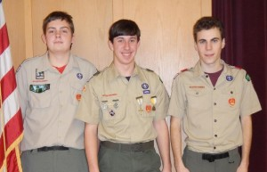 Troop 4 Shrewsbury's newest Eagle Scouts Devin Travers, Shayne Brenner and Logan Garber. (Photo/submitted)