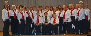 The Hundredth Town Chorus was all decked out for its recent concert at Southgate of Shrewsbury. (Photo/Joyce DeWallace)