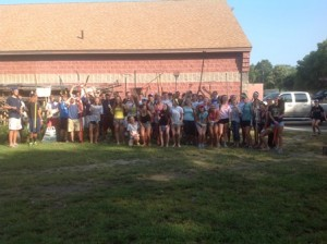 Members of the Shrewsbury High School crew team cleaned up the Donahue Rowing Center Sept. 6 (Photo/submitted)
