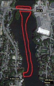 The approximate limits of the open water zone are outlined in red on the aerial view. (Photo/MassDOT)