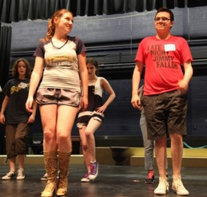 Julia Imbalzano from Shrewsbury and Josh Telepman from Westborough rehearse for a Centre Stage production.