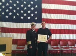 Shrewsbury Fire Chief James M. Vuona (left) and graduating firefighter Benjamin Gerber of Shrewsbury. (Photo/submitted)