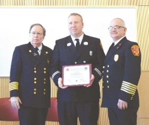 (l to r) State Fire Marshal Stephen D. Coan, Shrewsbury Fire Captain Aaron Roy and Shrewsbury Fire Chief James Vuona Photo/submitted