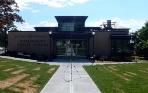 The front entrance of the new library